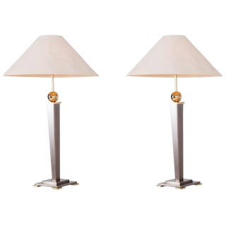 Belgo Chrome Table Light in Brushed Steel, Set of Two For Sale