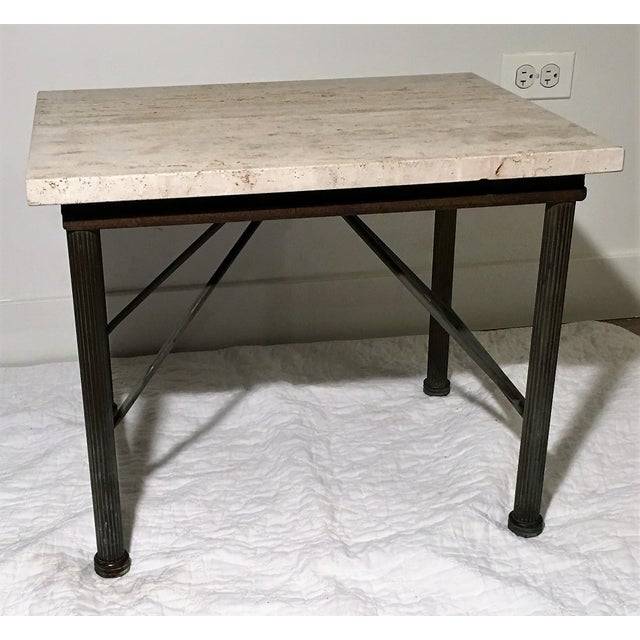 Travertine Indoor/Outdoor Side Table For Sale - Image 4 of 6