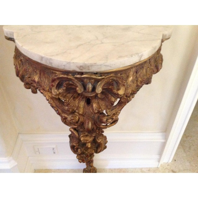 20th Century French Giltwood Console With Marble Top For Sale - Image 4 of 5