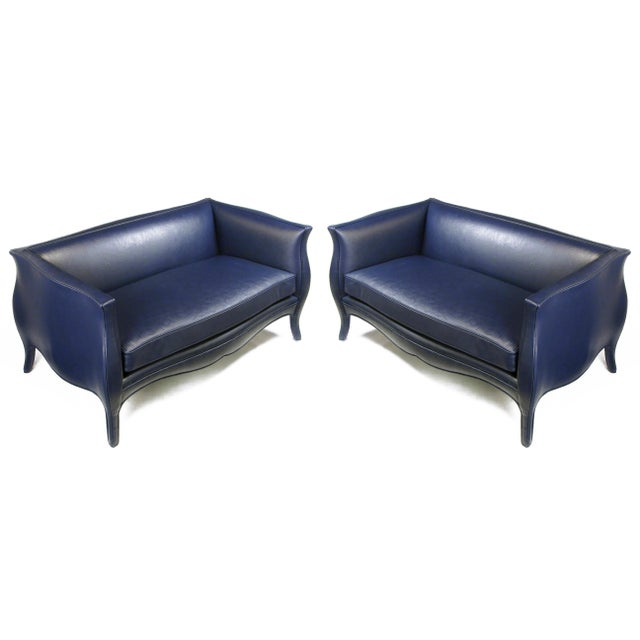 Pair of Richard Himmel Lutece Settees in Blue Edelman Reptile Patterned Calfskin For Sale - Image 10 of 10