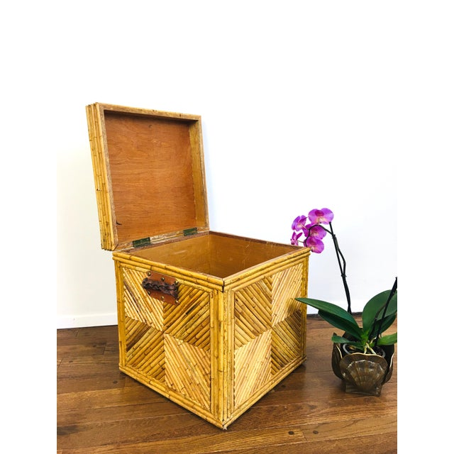 Vintage Natural Pencil Reed Rattan Gabriella Crespi Style Trunk Chest Table For Sale In Las Vegas - Image 6 of 9