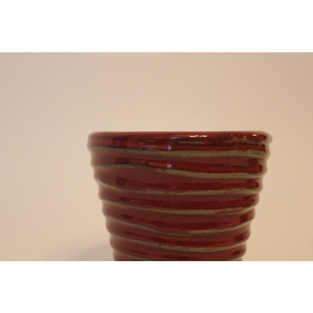 Contemporary Vintage Red Swirled Ceramic Planter For Sale - Image 3 of 5