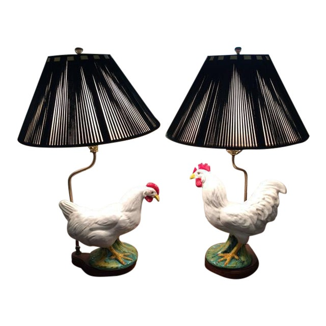 Vintage Ceramic Rooster Lamps - A Pair - Image 1 of 7