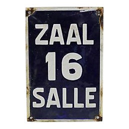 Vintage Industrial Room #16 Door / Hall Sign For Sale