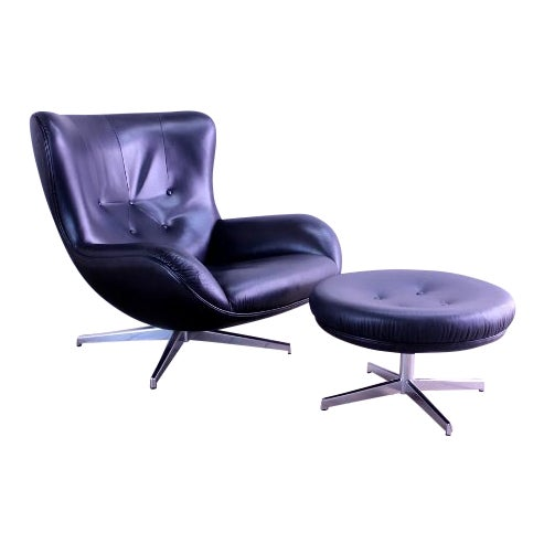 1960s Mid-Century Modern Illum Wikkelso Lounge Chair and Ottoman - 2 Pieces For Sale