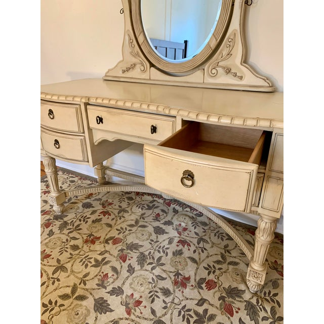 Laura Ashley for Kincaid Furniture French Provincial Style Vanity With Mirror For Sale - Image 4 of 10