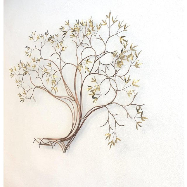 Modern Copper and Brass Tree Wall Sculpture by Curtis Jeré For Sale - Image 3 of 8