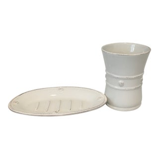 Juliska Thread & Berry Soap Dish and Bathroom Cup - 2 Pieces For Sale