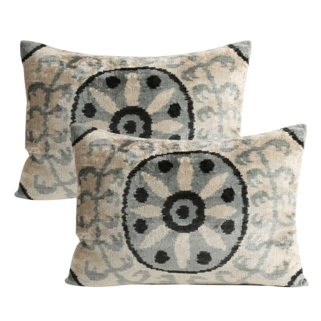 Contemporary Silk Velvet Down Feather Pillow - a Pair For Sale - Image 3 of 3