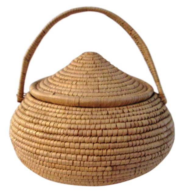 African Lidded Woven Basket - Image 1 of 5