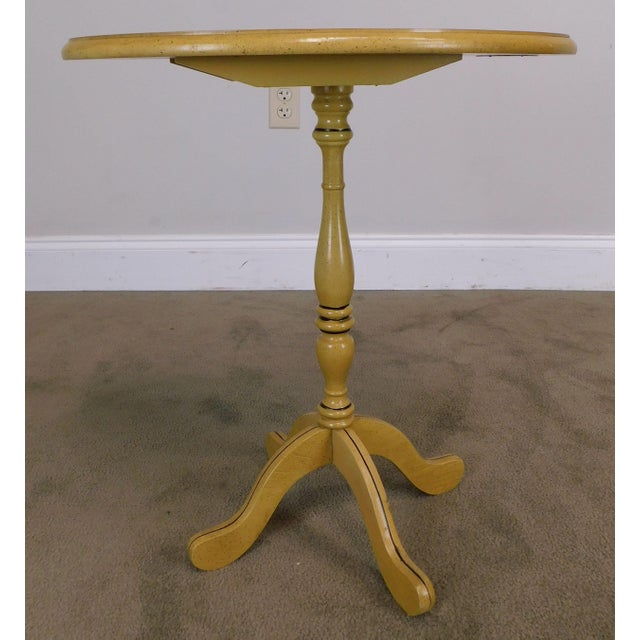 Bicentennial Colonial Yellow Stenciled Tilt Top Oval Side Table by Lock For Sale - Image 4 of 13