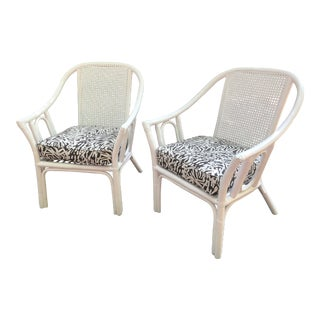 Vintage Mid Century White Rattan Arm Chairs- A Pair For Sale
