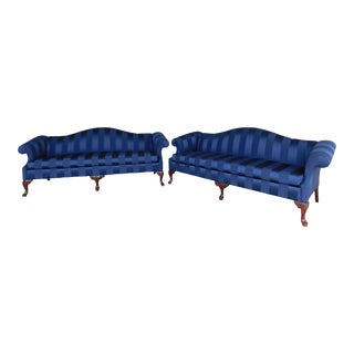 Thomasville Chippendale Style Camel Back Sofas - a Pair For Sale