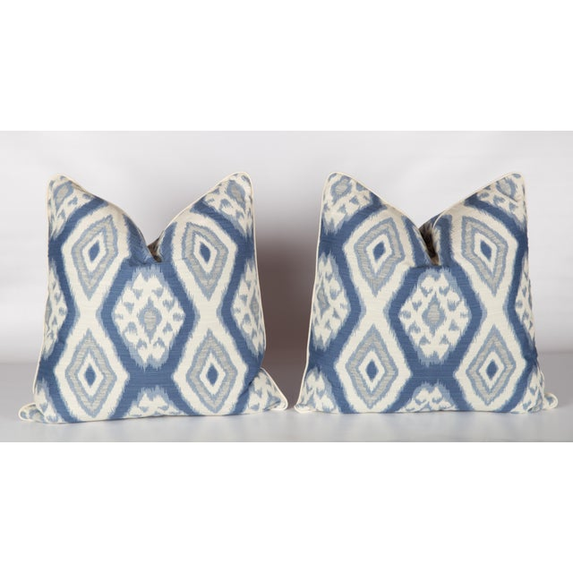 Custom Blue & Ivory Ikat Pattern Pillows - A Pair - Image 4 of 4