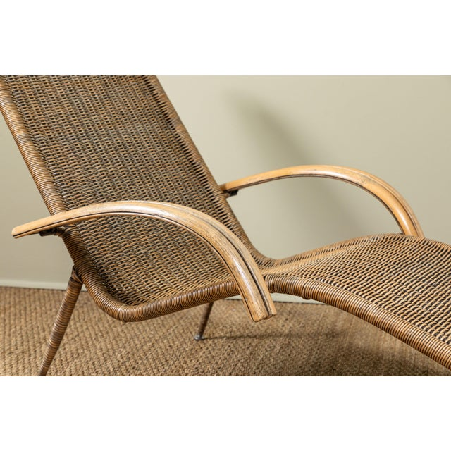 1960s Mid-Century Italian Rattan Lounge Chair For Sale - Image 5 of 9