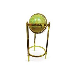 Vintage Globe on Brass Stand For Sale