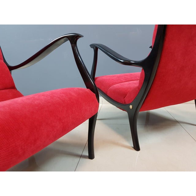 Ruby Red Italian Mid-Century Modern Lounge Armchairs by Ezio Longhi, 1950s Reupholstered - a Pair For Sale - Image 8 of 13