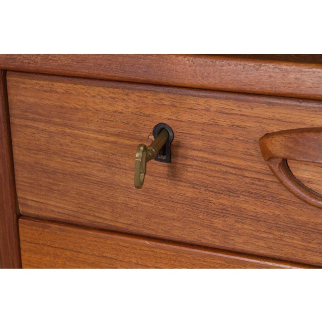 Brown Danish Teak Desk With Floating Top by Kai Kristensen For Sale - Image 8 of 10