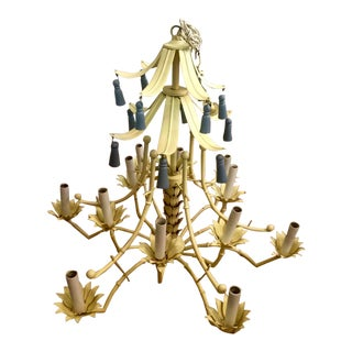 Light Yellow Hollywood Regency Pagoda Style Chandelier With Blue Tassels and Floral Details For Sale