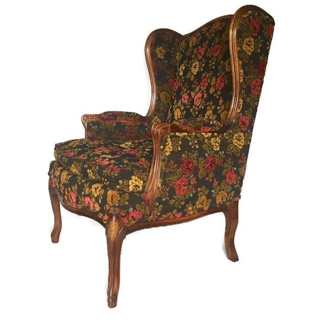 Vintage French Bohemian Wingback Armchair - Image 8 of 9