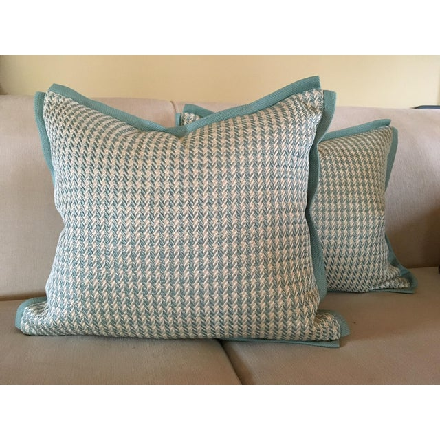 Aqua Houndstooth Pillow Covers - A Pair For Sale - Image 12 of 13