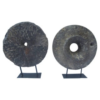 Two Millstones on Iron Bases For Sale