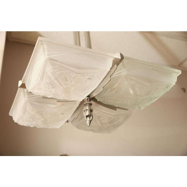 Glass French Art Deco Square-Shaped Chandelier For Sale - Image 7 of 10