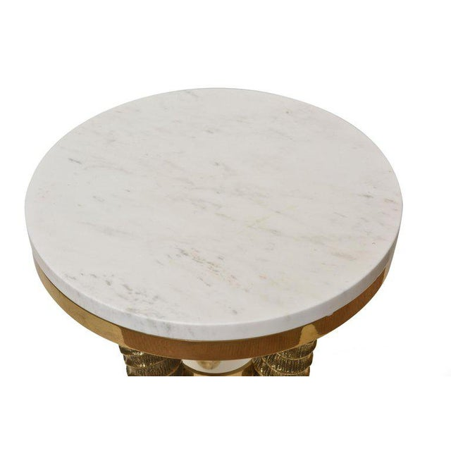 White 1970's Vintage Solid Brass and Marble Side Horn Table For Sale - Image 8 of 10