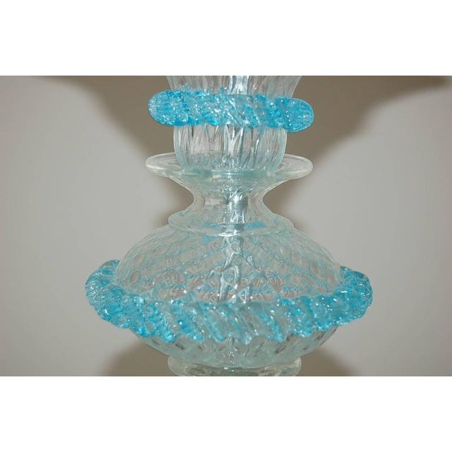 Silver Chandelier Vintage Murano Glass Clear Blue For Sale - Image 8 of 10