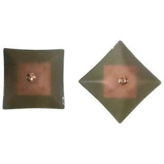 Beveled Glass Flush Mounts or Wall Sconces For Sale