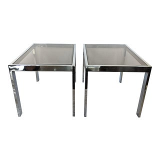 Milo Baughman Chrome and Smoke Glass Side Tables - a Pair For Sale
