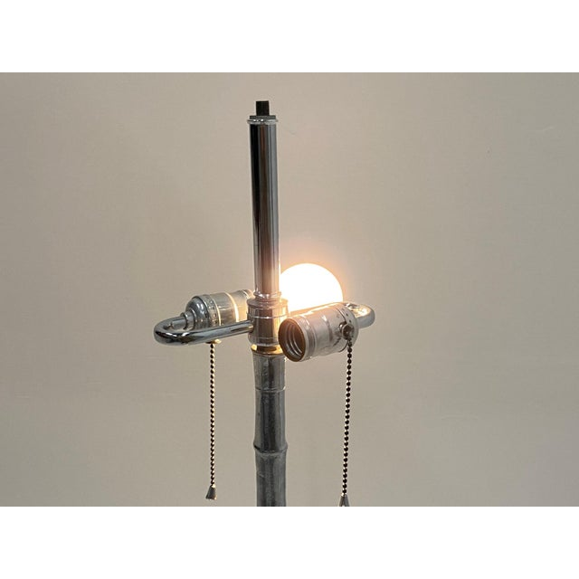 Mid-Century Modern Chrome Faux Bamboo Floor Lamp For Sale - Image 11 of 12