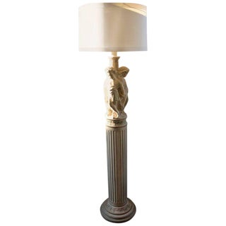 Cherub & Acanthus Leaf Column Floor Lamp