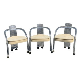 1970s Charles Hollis Jones Style Lucite Rolling Chairs - Set of 3 For Sale