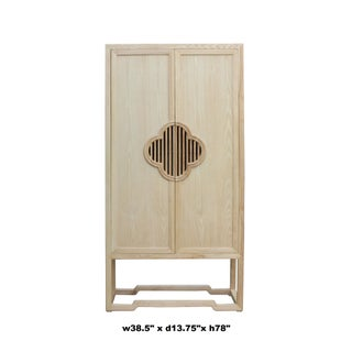 Minimalist Light Raw Wood Shutter Doors Bookcase Display Dresser Cabinet Preview