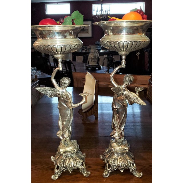 Chromed Angel Centerpieces - a Pair For Sale - Image 11 of 13