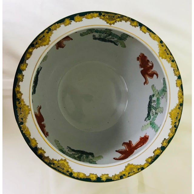 Vintage Andrea by Sadek Chinoiserie Fish Bowl Ceramic Floor Planter Cachepot For Sale In Saint Louis - Image 6 of 11