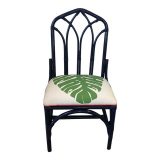 1970s Vintage Henry Link Cathedral Style Bamboo Rattan Side Chair For Sale