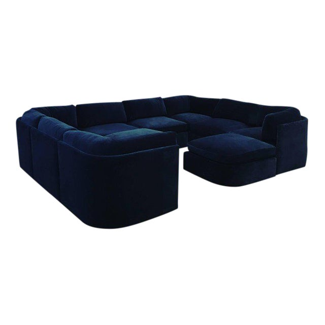 Mid Century Modern / Contemporary 10 pc Thayer Coggin Sectional in Cotton Velvet - Image 1 of 9