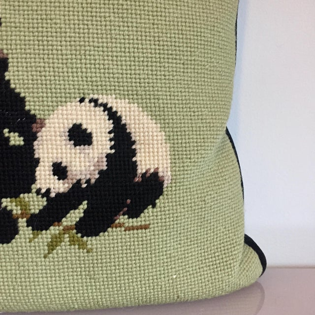 1970s Needlepoint Panda Pillow For Sale - Image 5 of 10