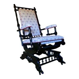 Antique 1880s Eastlake Ebony Wood Platform Rocker For Sale
