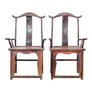 Antique Chinese Wooden Armchairs - a Pair For Sale