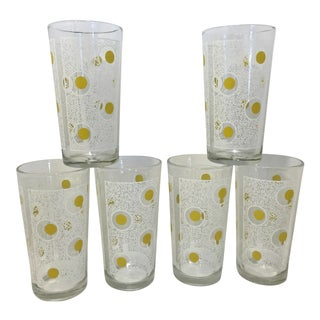 Vintage White & Yellow Polka Dot Glasses - Set of 6 For Sale