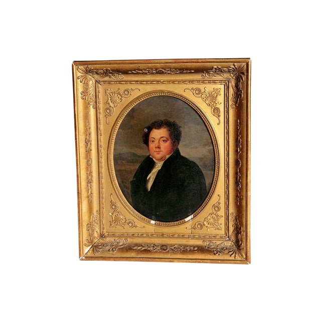 Early 19th Century French Oil on Canvas of a Man Dressed in Black For Sale