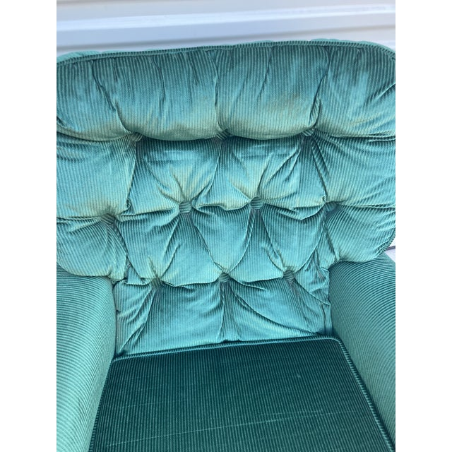 Emerald Vintage Broyhill Emerald Green Chair and Ottoman For Sale - Image 8 of 13