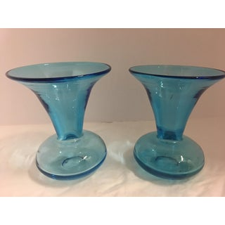 Turquoise Glass Flower Vases - A Pair Preview