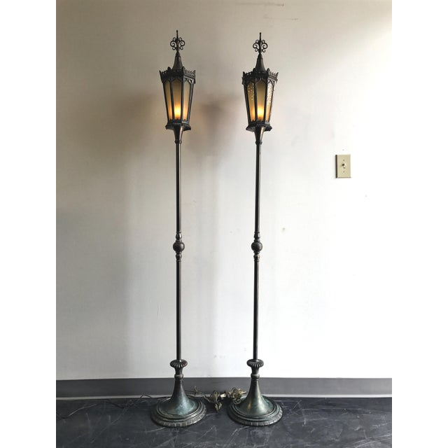 Oscar B Bach Gothic Bronze Floor Lamps - A Pair - Image 2 of 11