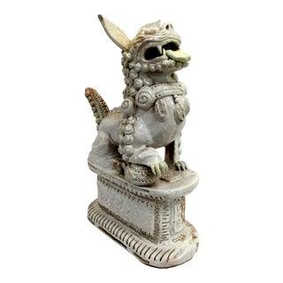 Italian Foo Dog in Porcelain Terracotta White Signed Faenza For Sale