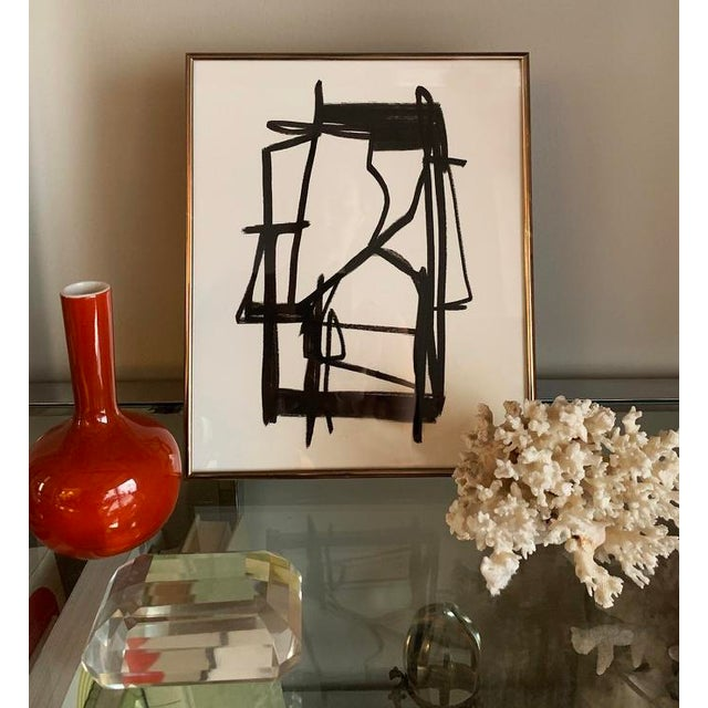 Abstract Original Abstract Black and White Painting, Framed For Sale - Image 3 of 4