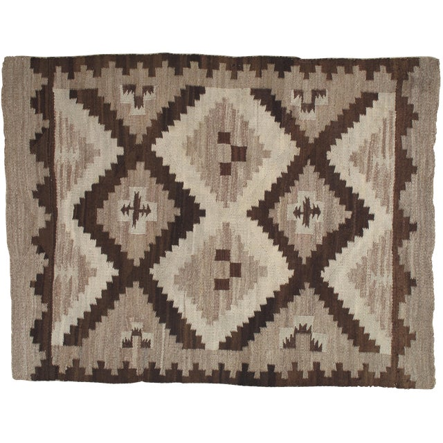 Early 20th Century Antique Navajo Handmade Wool Rug- 5′ × 6′4″ For Sale